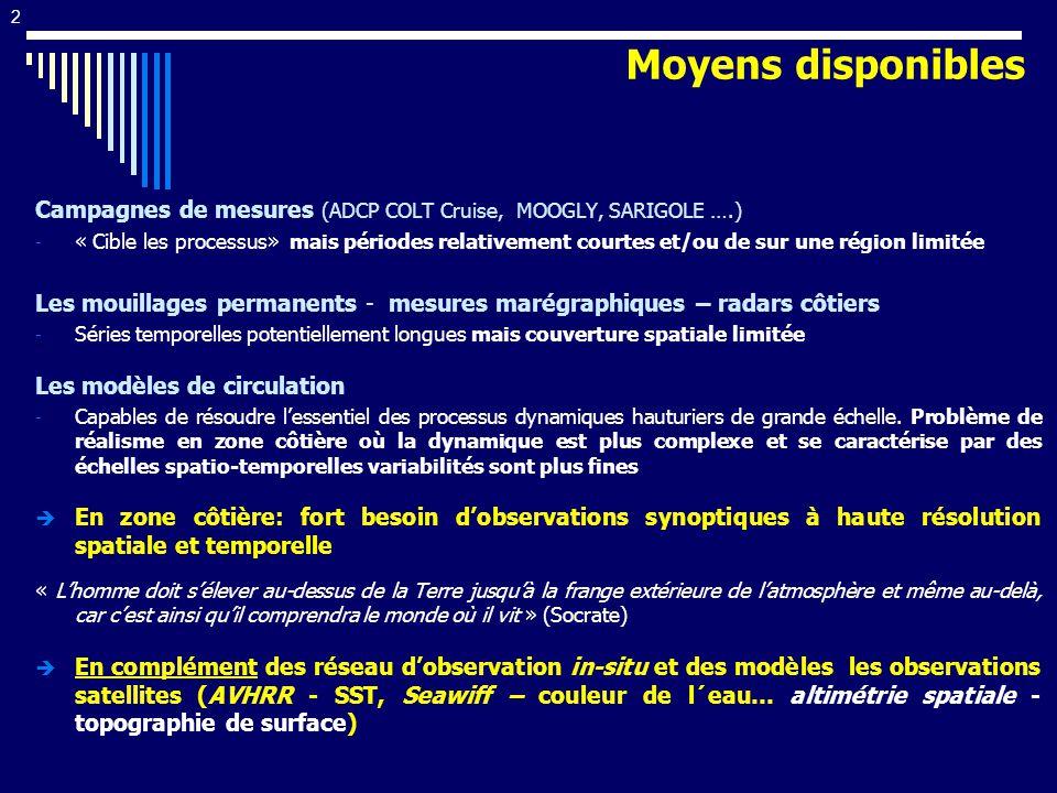 33 Variabilité saisonnière RMS: 5cm/s Hivers: accélération moyenne de 4 cm/s Eté: ralentissement de -6 cm/s Variabilité inter-annuelle Eté 1998 et 2001 (<-12cm/s) Hivers 1998->2000 (>5cm/s) Structures de petite échelle Besoin dintercomparer avec dautres capteurs (Lagrangien, radars ), exposant Lyapunov, focaliser sur certains événements, 43°N Hovmuller T/P track 222 Mean velocity anomaly Ligurian Sea 1994 1995 1997 1998 1996 1999 2000 2001 +20 cm/s -20 cm/s COAST LPC mean position -10 cm/s +10 cm/s Laltimétrie côtière améliorer permet de suivre précisemment la variabilité saisonnière et interannuelle du LPC From Bouffard et al 33 Approche multi-capteurs Information issue de la vitesse AGVA altimétrique : Variabilité en Mer Ligure