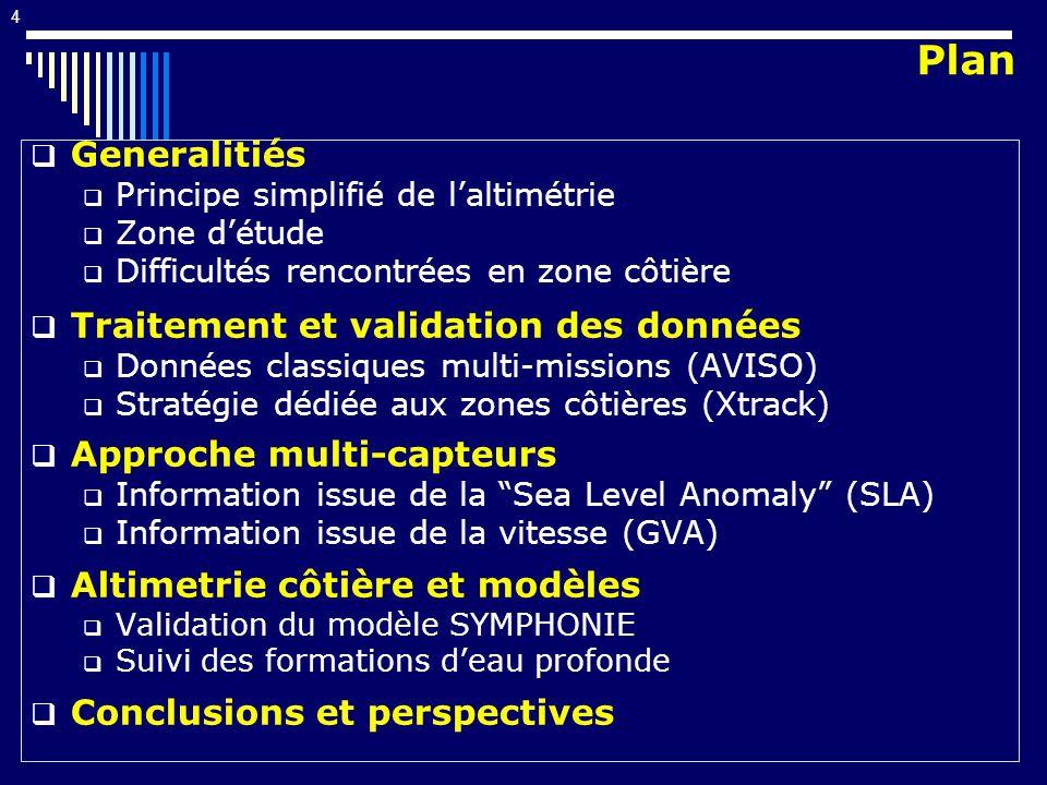 4 Generalitiés Principe simplifié de laltimétrie Zone détude Difficultés rencontrées en zone côtière Traitement et validation des données Données classiques multi-missions (AVISO) Stratégie dédiée aux zones côtières (Xtrack) Approche multi-capteurs Information issue de la Sea Level Anomaly (SLA) Information issue de la vitesse (GVA) Altimetrie côtière et modèles Validation du modèle SYMPHONIE Suivi des formations deau profonde Conclusions et perspectives Plan