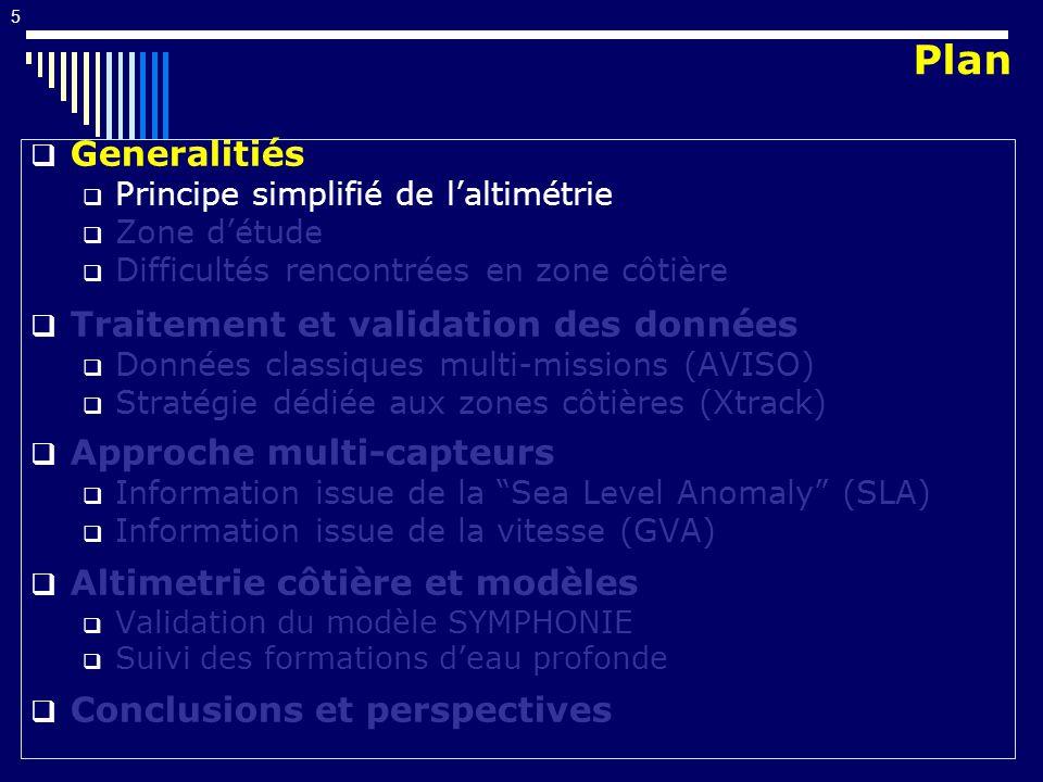 5 Generalitiés Principe simplifié de laltimétrie Zone détude Difficultés rencontrées en zone côtière Traitement et validation des données Données clas