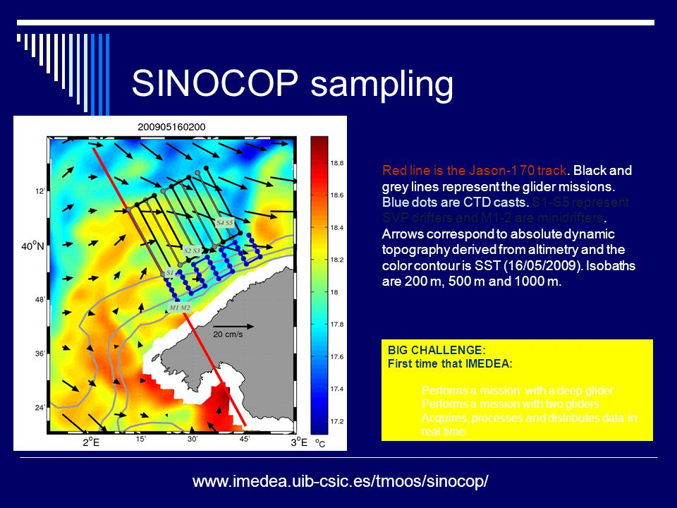 SINOCOP sampling Red line is the Jason-1 70 track. Black and grey lines represent the glider missions. Blue dots are CTD casts. S1-S5 represent SVP dr