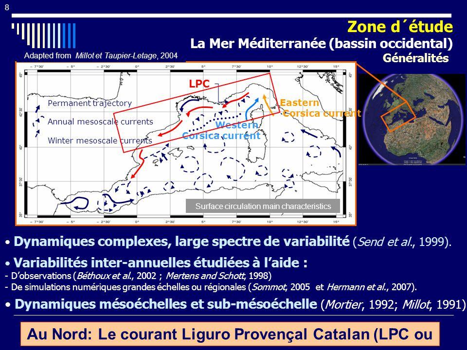 9 Activité mesoéchelle intense: Tourbillons, meandres… (Millot, 1991) Variabilité saisonnière marquée (Gostan, 1967) : - Été: Courant large (50 km), peu profond.
