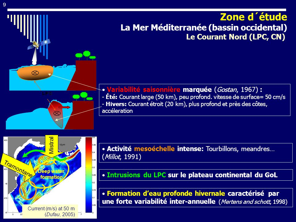 9 Activité mesoéchelle intense: Tourbillons, meandres… (Millot, 1991) Variabilité saisonnière marquée (Gostan, 1967) : - Été: Courant large (50 km), p