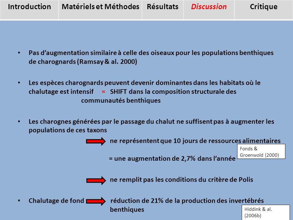 Pas daugmentation similaire à celle des oiseaux pour les populations benthiques de charognards (Ramsay & al.