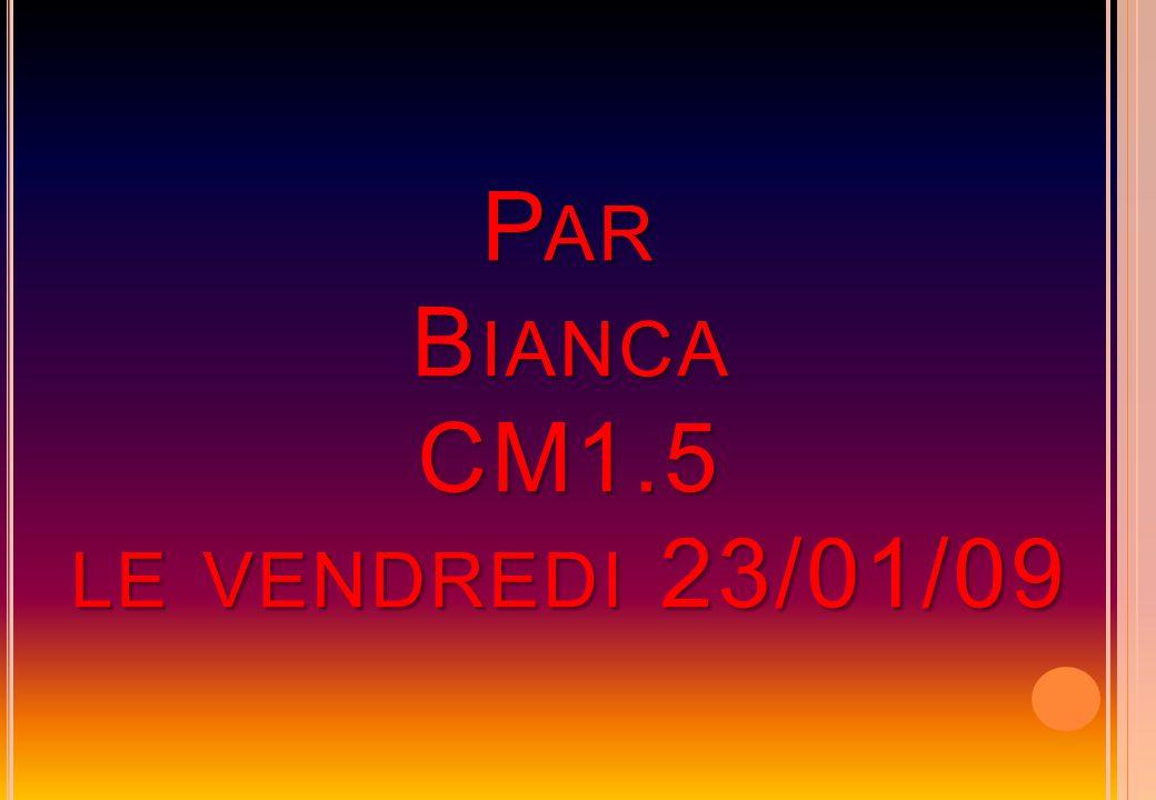 P AR B IANCA CM1.5 LE VENDREDI 23/01/09