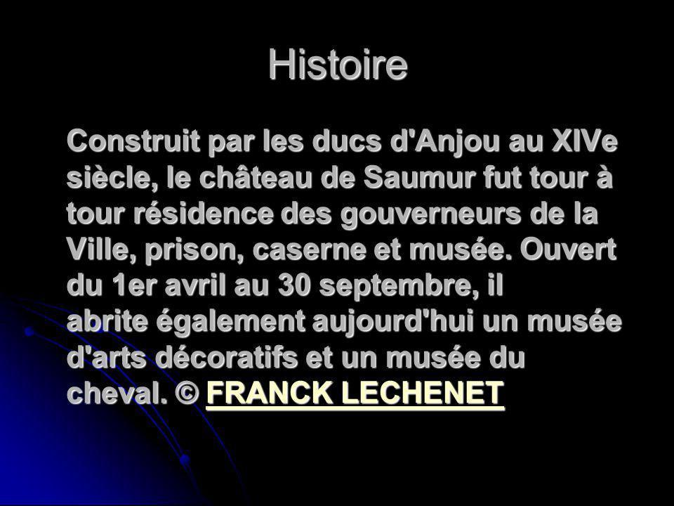 Histoire Construit par les ducs d'Anjou au XIVe siècle, le château de Saumur fut tour à tour résidence des gouverneurs de la Ville, prison, caserne et