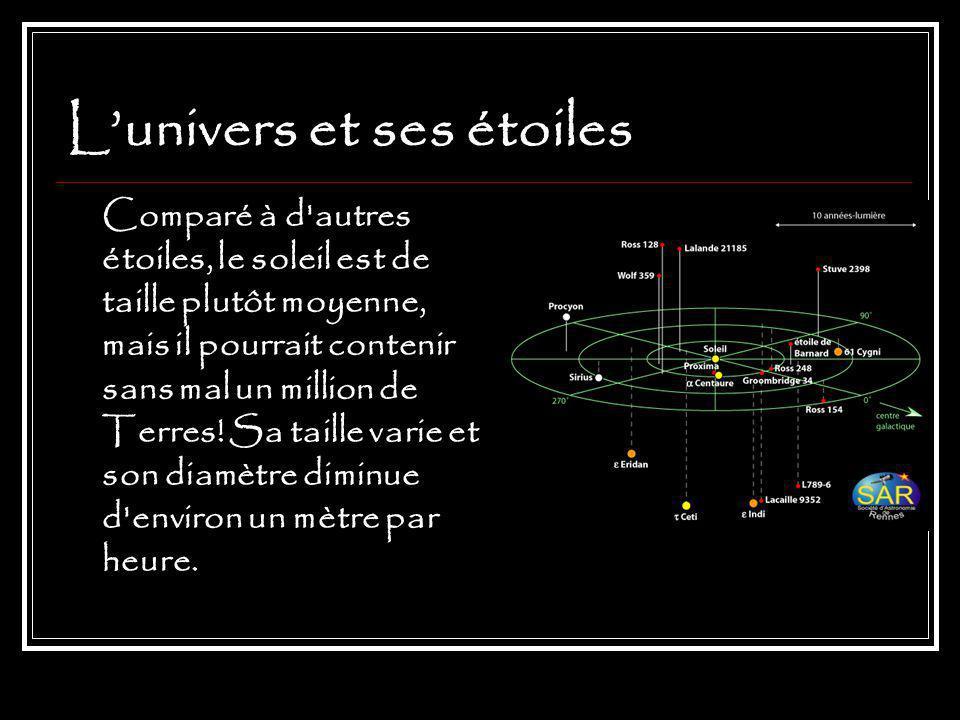 Lunivers et ses étoiles Comparé à d autres étoiles, le soleil est de taille plutôt moyenne, mais il pourrait contenir sans mal un million de Terres.