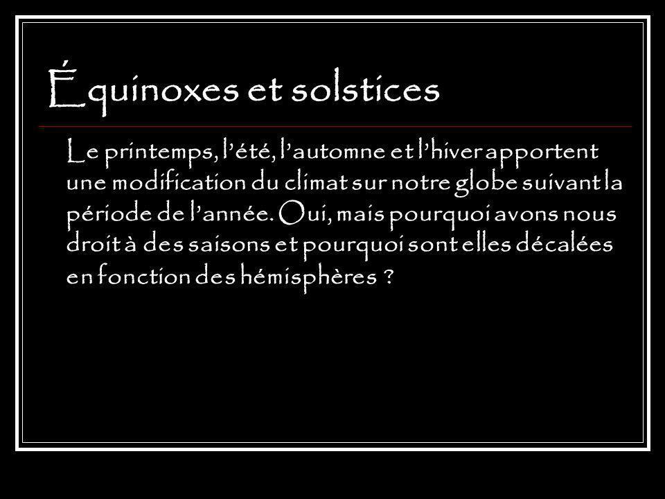 Équinoxes et solstices Le printemps, lété, lautomne et lhiver apportent une modification du climat sur notre globe suivant la période de lannée.