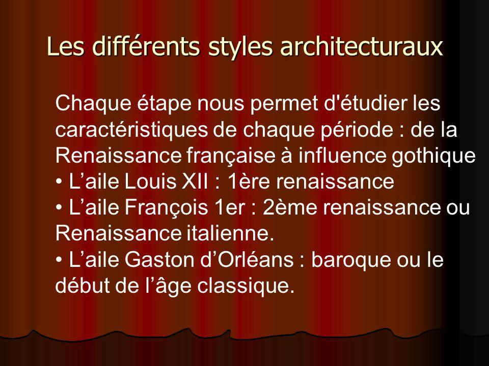 Les différents styles architecturaux Chaque étape nous permet d'étudier les caractéristiques de chaque période : de la Renaissance française à influen