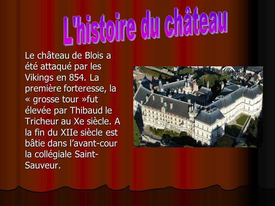 Le château de Blois a été attaqué par les Vikings en 854. La première forteresse, la « grosse tour »fut élevée par Thibaud le Tricheur au Xe siècle. A