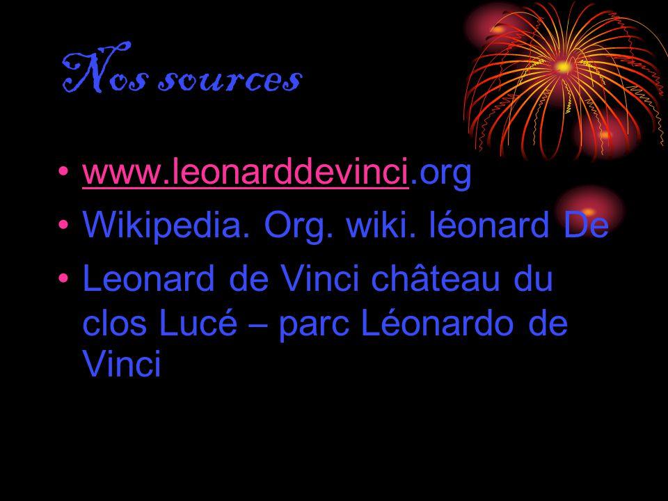 Nos sources www.leonarddevinci.orgwww.leonarddevinci Wikipedia. Org. wiki. léonard De Leonard de Vinci château du clos Lucé – parc Léonardo de Vinci