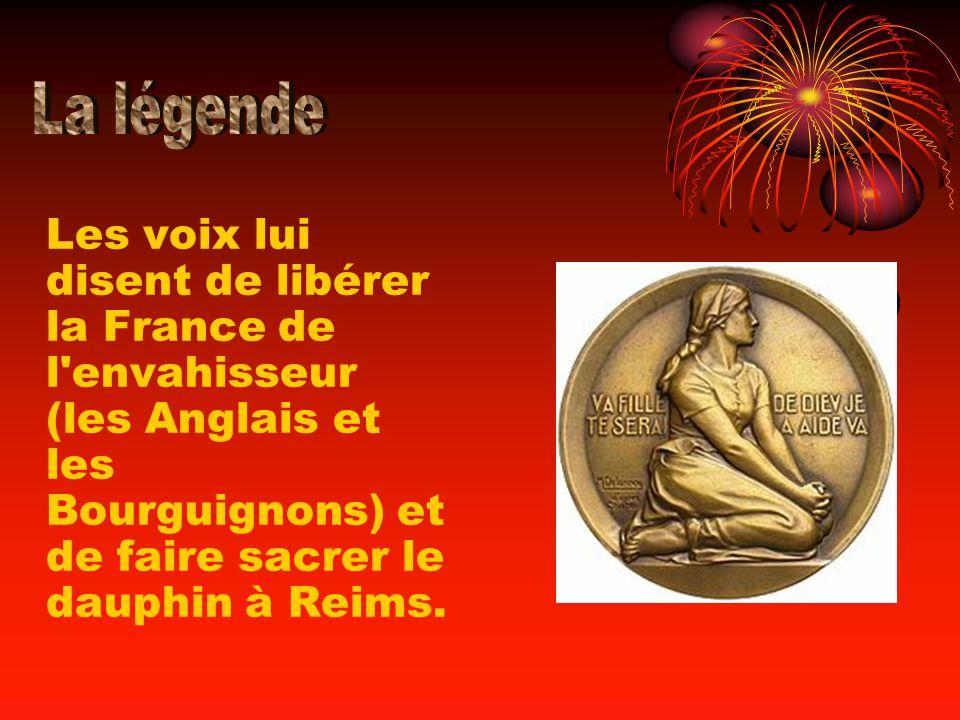 Les voix lui disent de libérer la France de l'envahisseur (les Anglais et les Bourguignons) et de faire sacrer le dauphin à Reims.