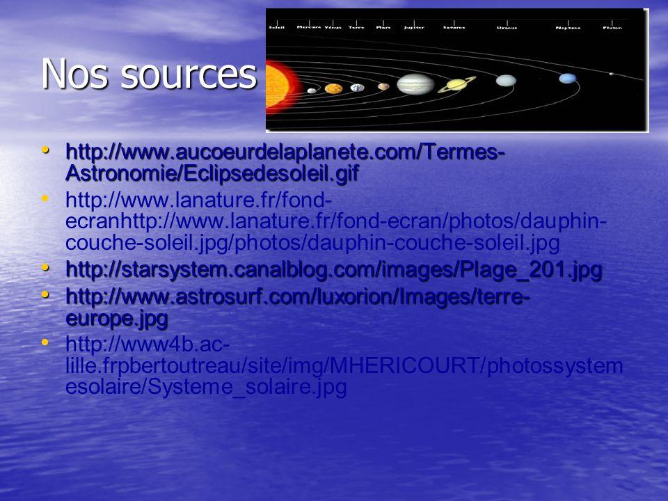 Nos sources http://www.aucoeurdelaplanete.com/Termes- Astronomie/Eclipsedesoleil.gif http://www.aucoeurdelaplanete.com/Termes- Astronomie/Eclipsedesol