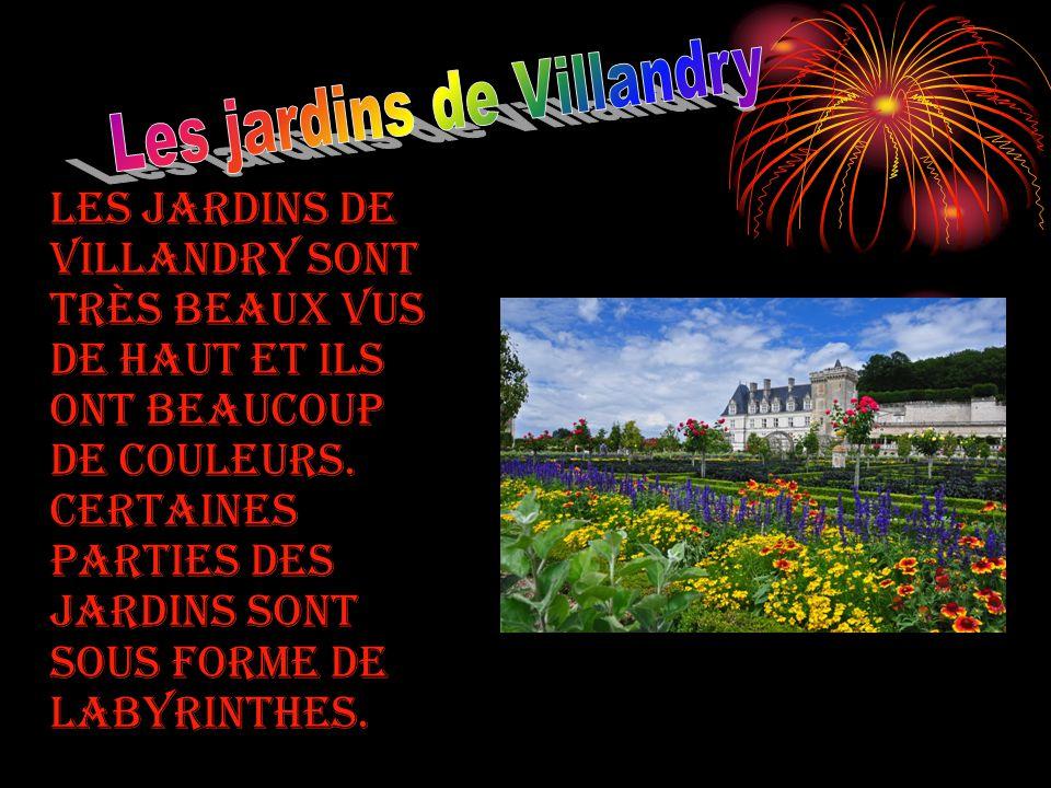 Les jardins de Villandry sont très beaux vus de haut et ils ont beaucoup de couleurs. Certaines parties des jardins sont sous forme de labyrinthes.