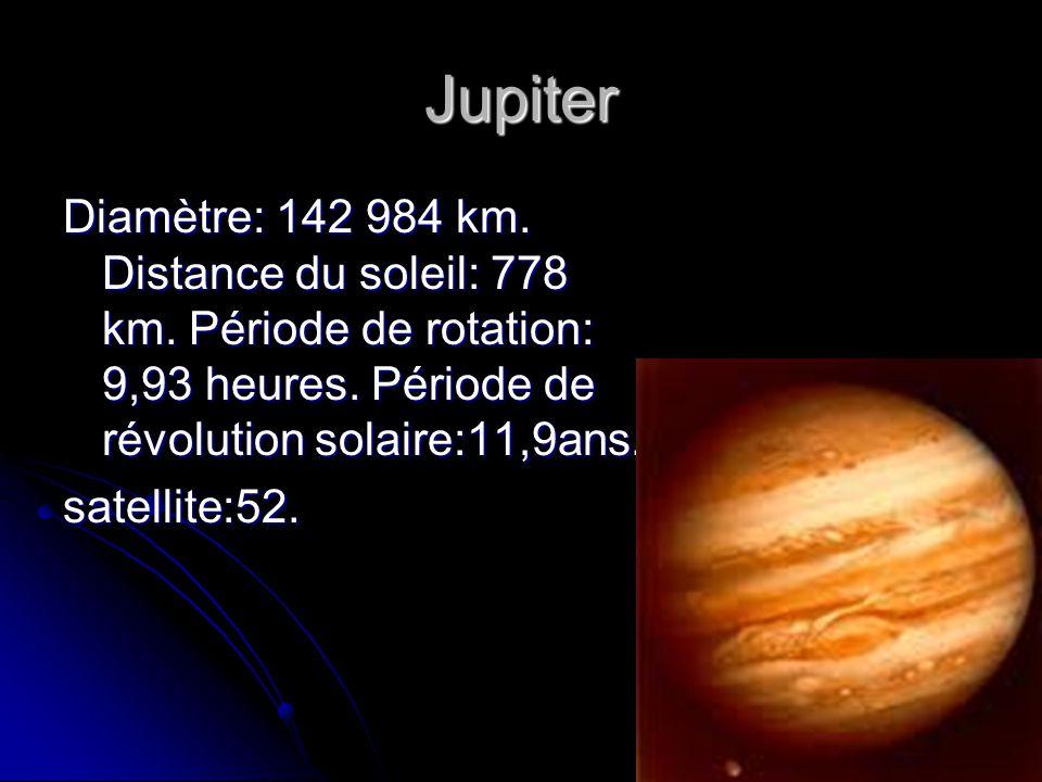 Jupiter Diamètre: 142 984 km. Distance du soleil: 778 km. Période de rotation: 9,93 heures. Période de révolution solaire:11,9ans. satellite:52.