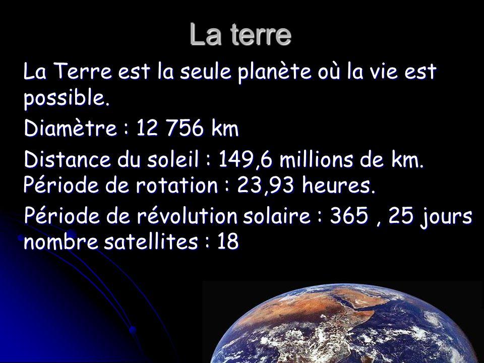 La terre La Terre est la seule planète où la vie est possible. Diamètre : 12 756 km Distance du soleil : 149,6 millions de km. Période de rotation : 2
