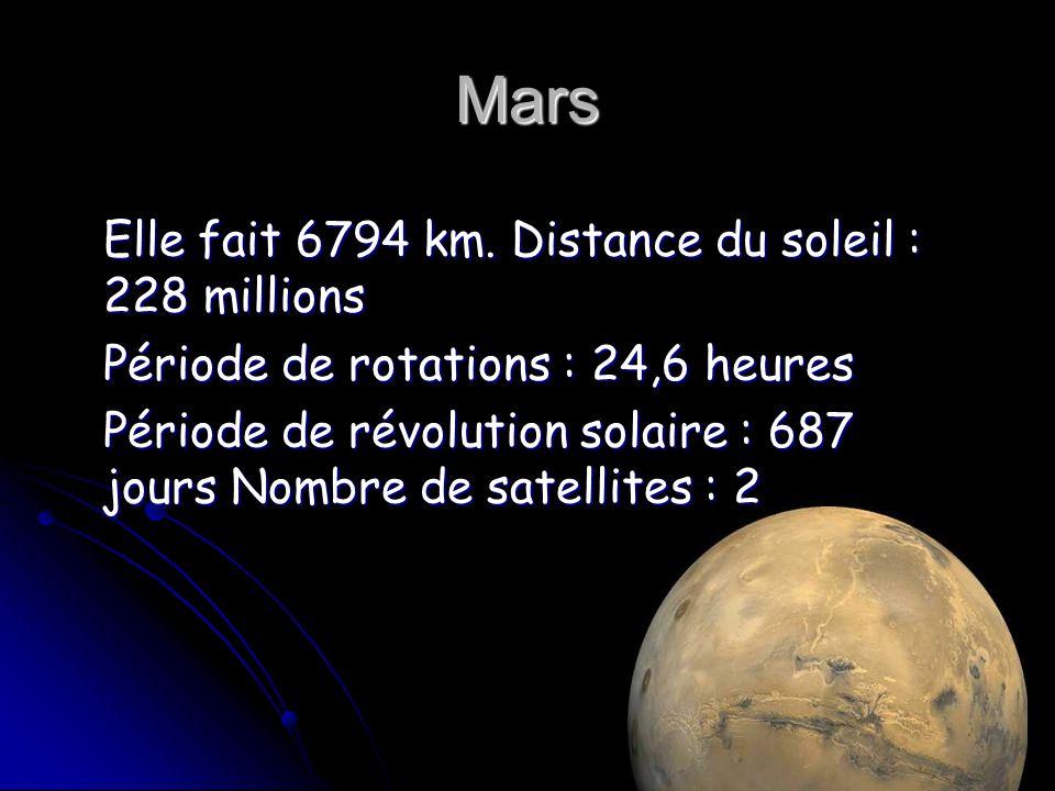 Mars Elle fait 6794 km. Distance du soleil : 228 millions Elle fait 6794 km. Distance du soleil : 228 millions Période de rotations : 24,6 heures Péri