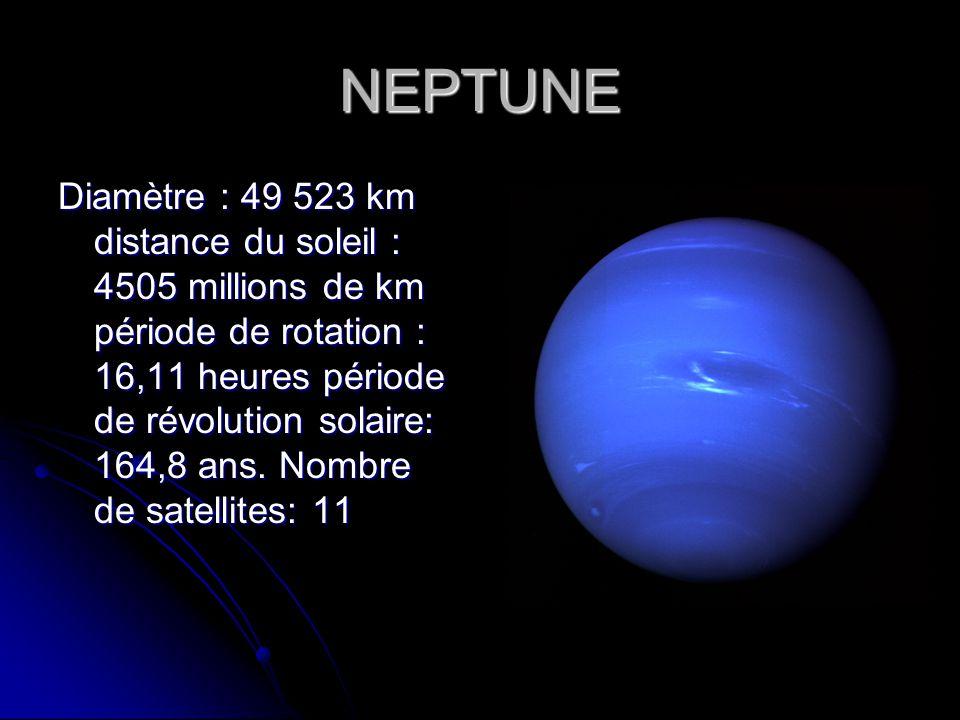 NEPTUNE Diamètre : 49 523 km distance du soleil : 4505 millions de km période de rotation : 16,11 heures période de révolution solaire: 164,8 ans. Nom
