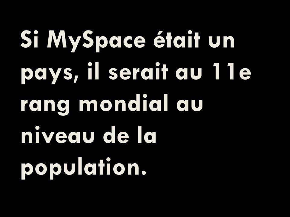 Si MySpace était un pays, il serait au 11e rang mondial au niveau de la population.