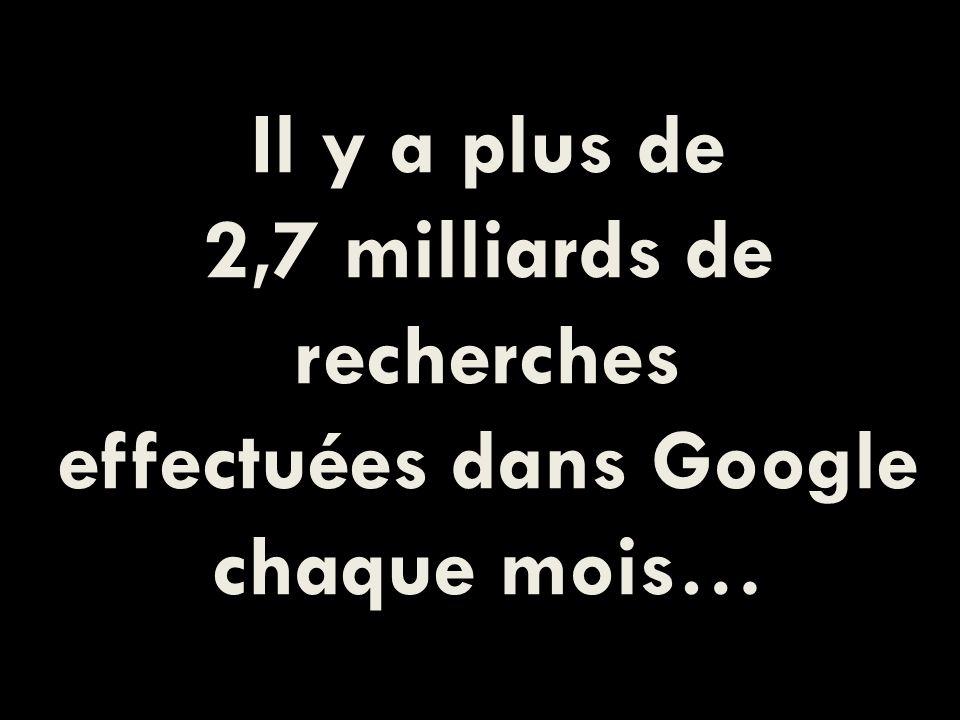 Il y a plus de 2,7 milliards de recherches effectuées dans Google chaque mois…