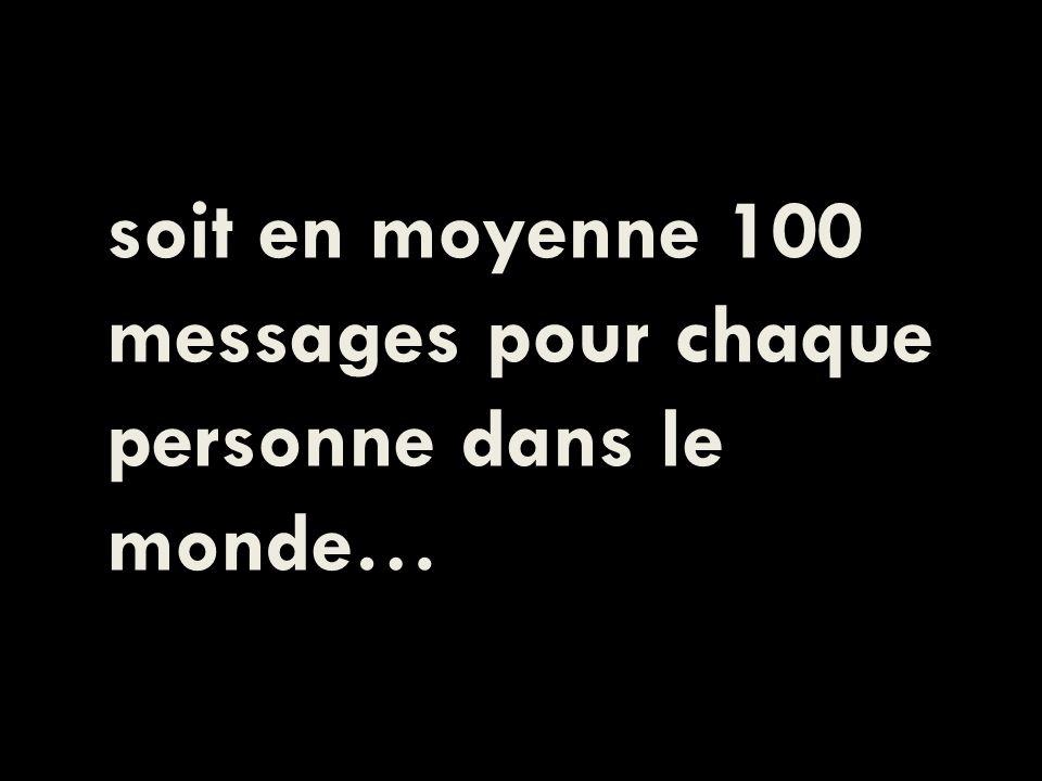 soit en moyenne 100 messages pour chaque personne dans le monde…