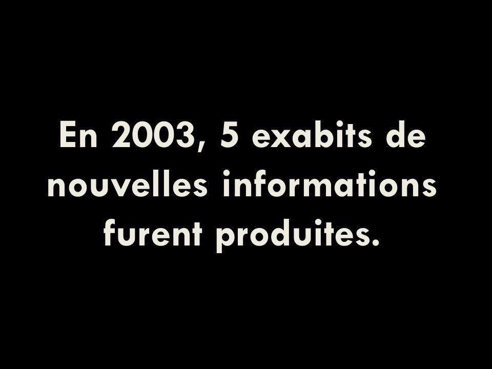 En 2003, 5 exabits de nouvelles informations furent produites.