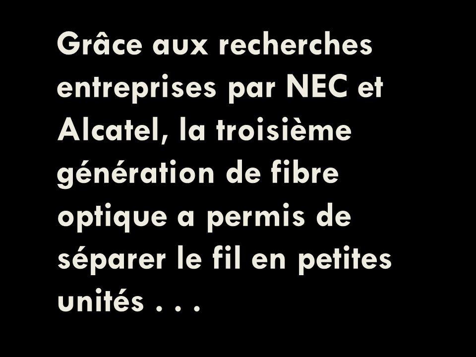 Grâce aux recherches entreprises par NEC et Alcatel, la troisième génération de fibre optique a permis de séparer le fil en petites unités...