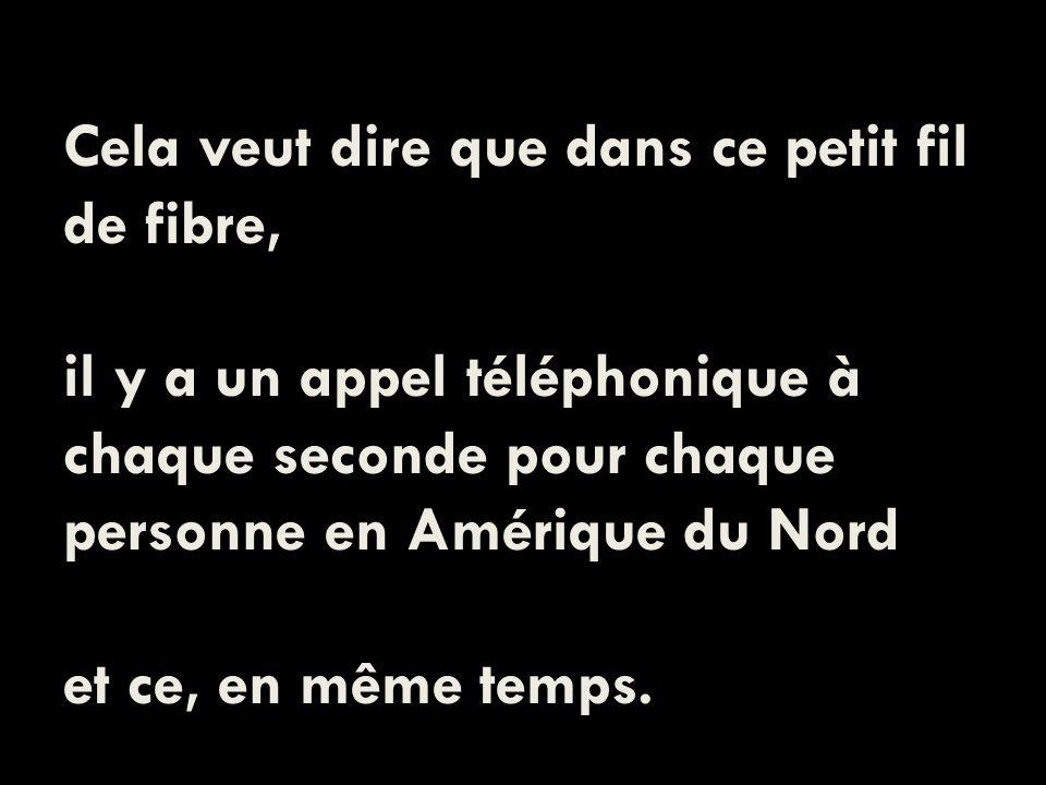 Cela veut dire que dans ce petit fil de fibre, il y a un appel téléphonique à chaque seconde pour chaque personne en Amérique du Nord et ce, en même temps.