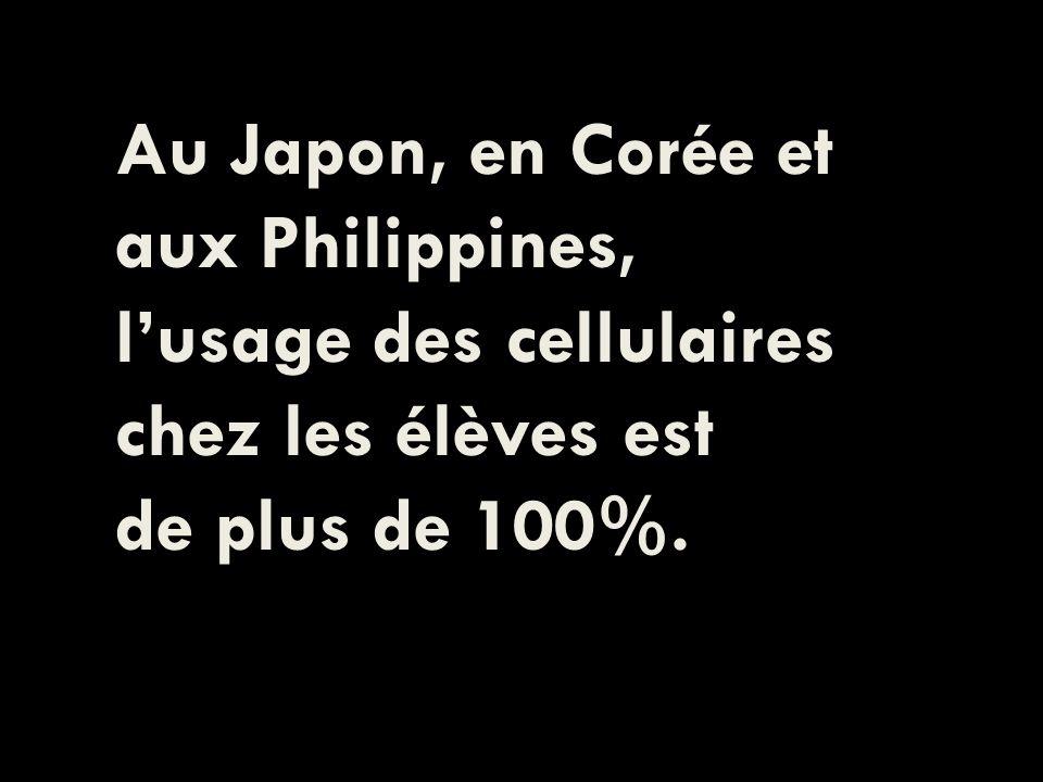 Au Japon, en Corée et aux Philippines, lusage des cellulaires chez les élèves est de plus de 100%.