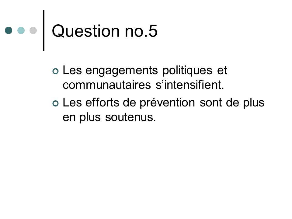 Question no.5 Les engagements politiques et communautaires sintensifient. Les efforts de prévention sont de plus en plus soutenus.