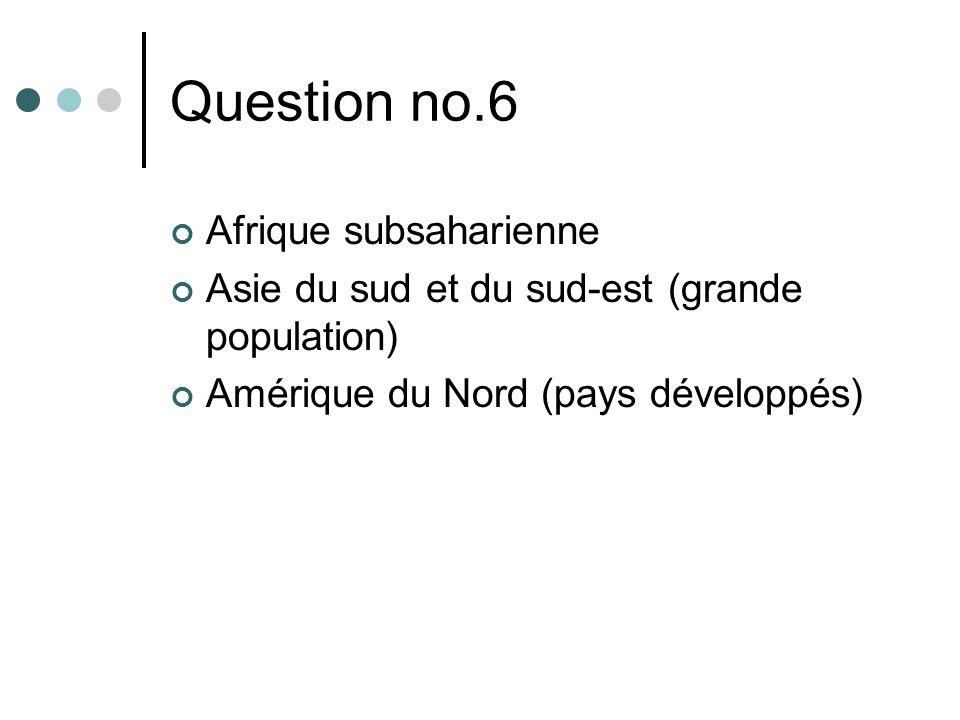 Question no.6 Afrique subsaharienne Asie du sud et du sud-est (grande population) Amérique du Nord (pays développés)