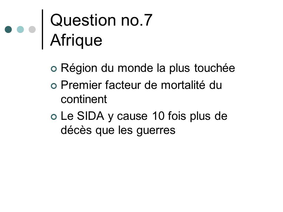 Question no.7 Afrique Région du monde la plus touchée Premier facteur de mortalité du continent Le SIDA y cause 10 fois plus de décès que les guerres