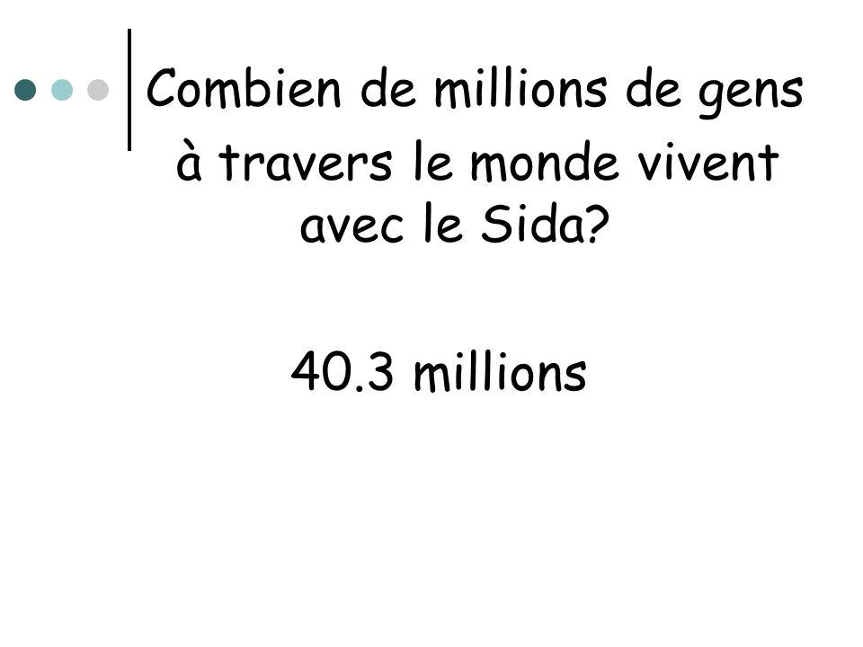 Combien de millions de gens à travers le monde vivent avec le Sida? 40.3 millions