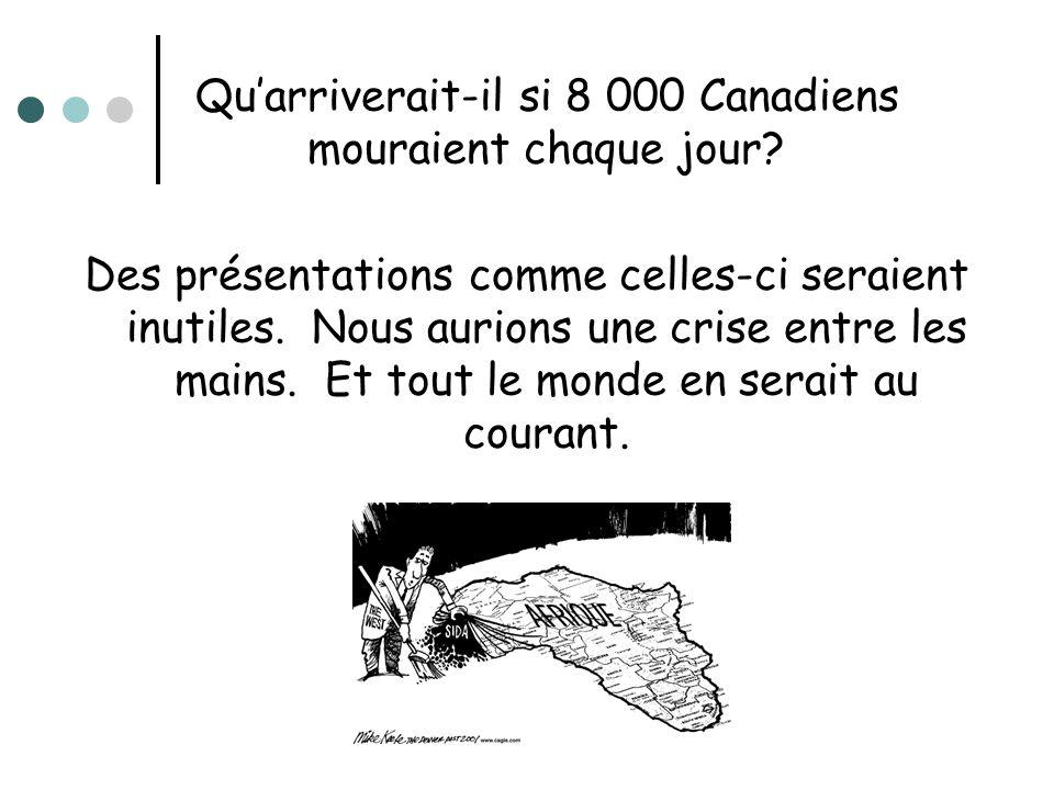 Quarriverait-il si 8 000 Canadiens mouraient chaque jour? Des présentations comme celles-ci seraient inutiles. Nous aurions une crise entre les mains.