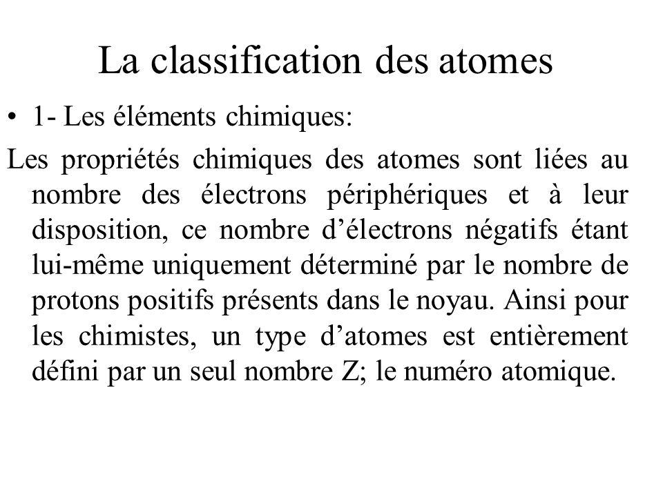La classification des atomes 1- Les éléments chimiques: Les propriétés chimiques des atomes sont liées au nombre des électrons périphériques et à leur