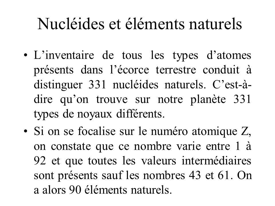 Nucléides et éléments naturels Linventaire de tous les types datomes présents dans lécorce terrestre conduit à distinguer 331 nucléides naturels. Cest