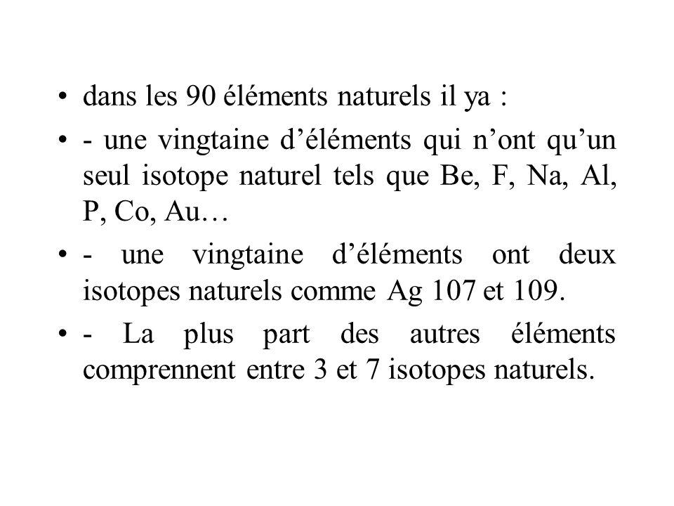 dans les 90 éléments naturels il ya : - une vingtaine déléments qui nont quun seul isotope naturel tels que Be, F, Na, Al, P, Co, Au… - une vingtaine