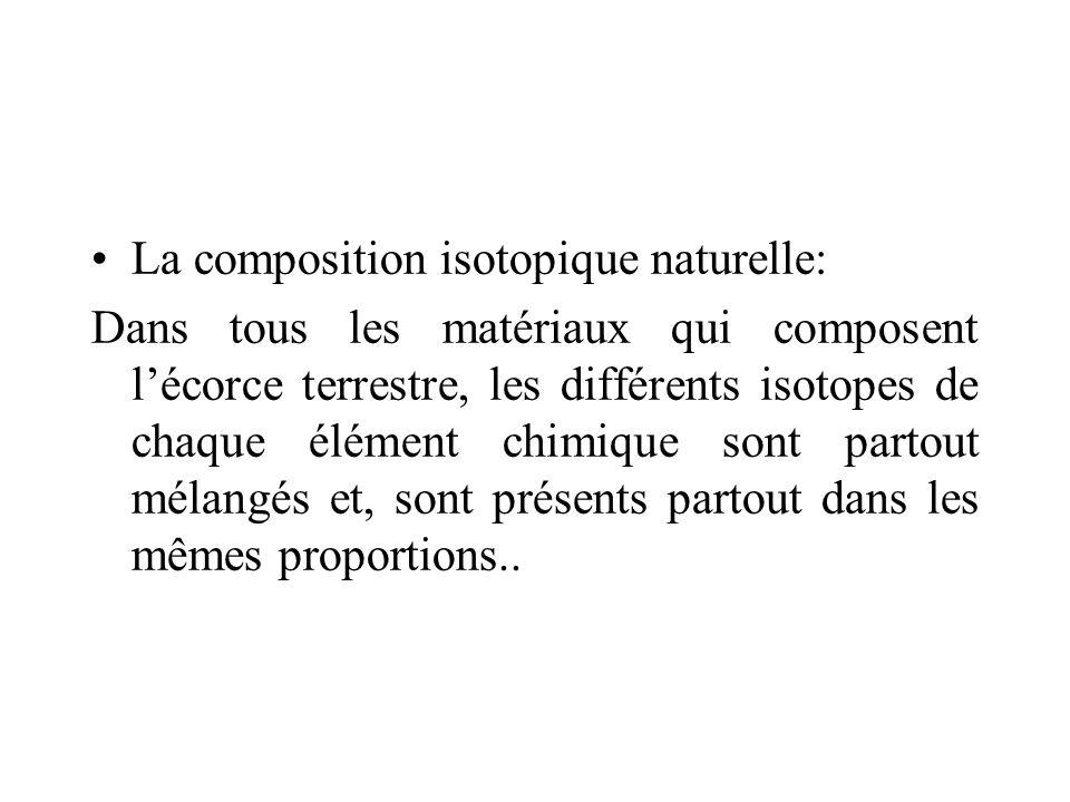 La composition isotopique naturelle: Dans tous les matériaux qui composent lécorce terrestre, les différents isotopes de chaque élément chimique sont
