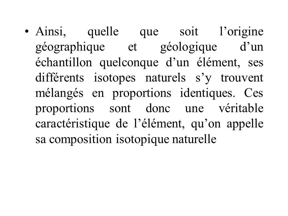 Ainsi, quelle que soit lorigine géographique et géologique dun échantillon quelconque dun élément, ses différents isotopes naturels sy trouvent mélang