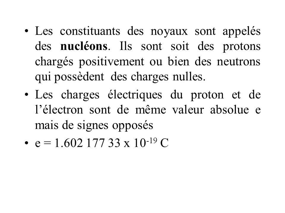 Les constituants des noyaux sont appelés des nucléons. Ils sont soit des protons chargés positivement ou bien des neutrons qui possèdent des charges n