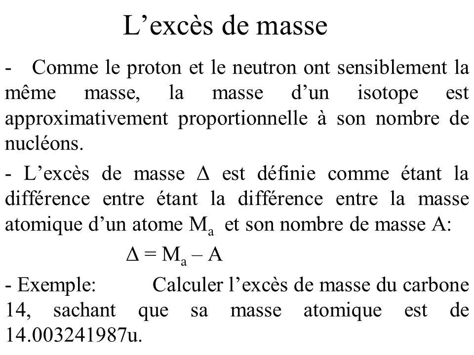 Lexcès de masse - Comme le proton et le neutron ont sensiblement la même masse, la masse dun isotope est approximativement proportionnelle à son nombr