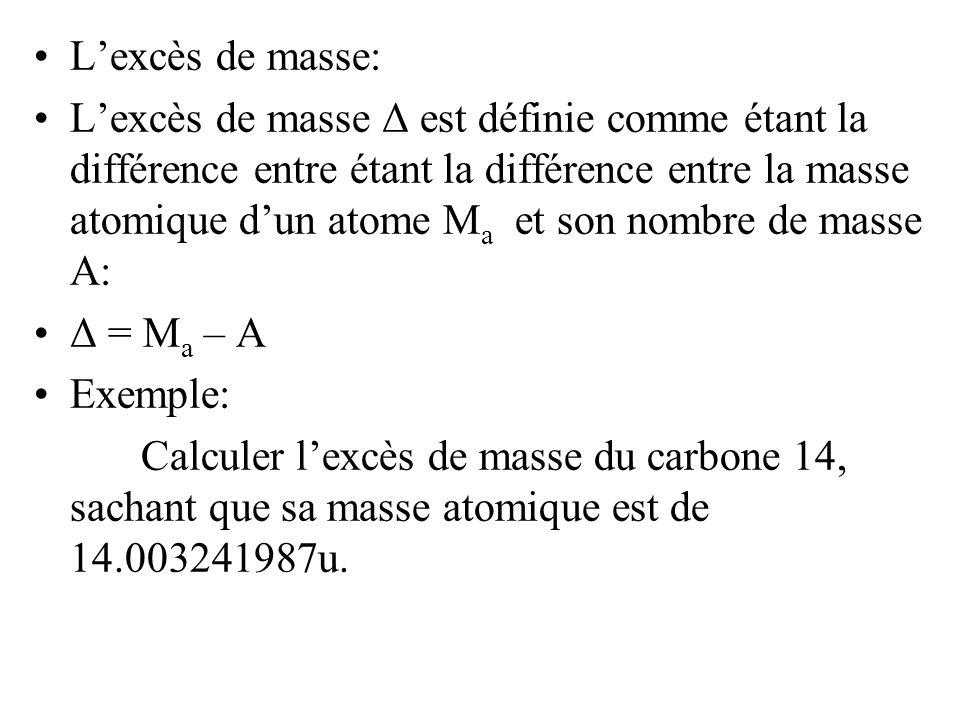 Lexcès de masse: Lexcès de masse Δ est définie comme étant la différence entre étant la différence entre la masse atomique dun atome M a et son nombre