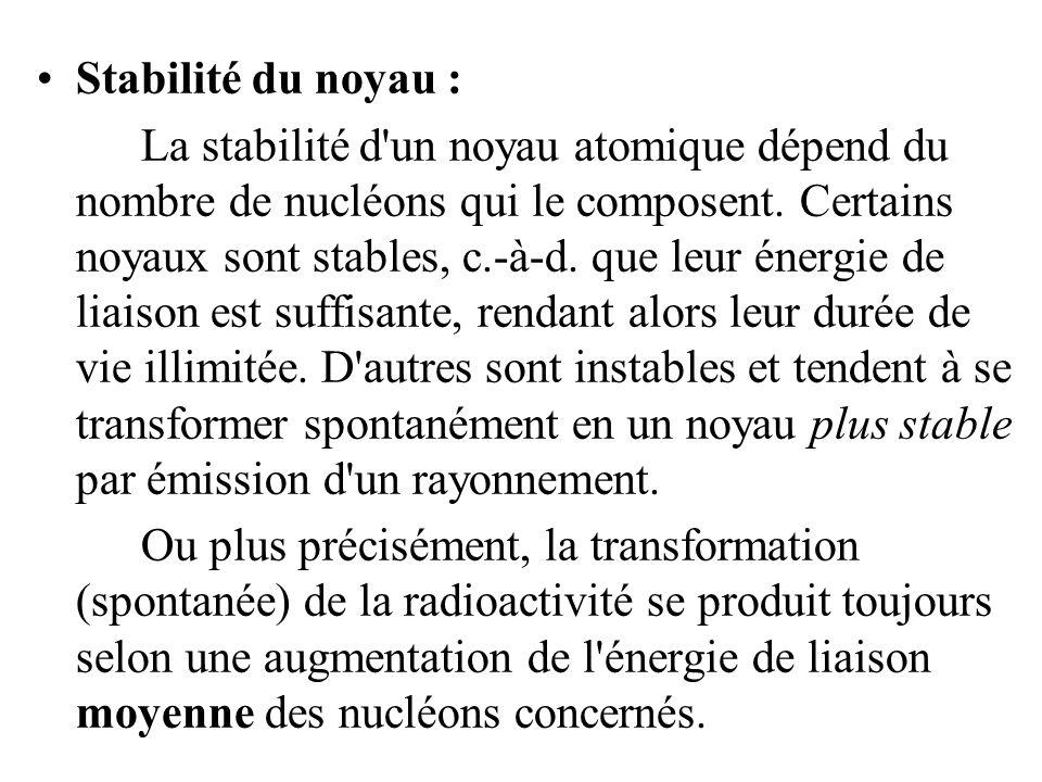 Stabilité du noyau : La stabilité d'un noyau atomique dépend du nombre de nucléons qui le composent. Certains noyaux sont stables, c.-à-d. que leur én
