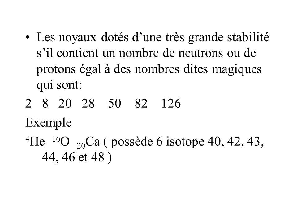 Les noyaux dotés dune très grande stabilité sil contient un nombre de neutrons ou de protons égal à des nombres dites magiques qui sont: 28 20 28 50 8