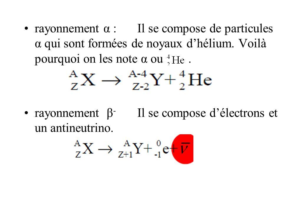 rayonnement α :Il se compose de particules α qui sont formées de noyaux dhélium. Voilà pourquoi on les note α ou. rayonnement β - Il se compose délect