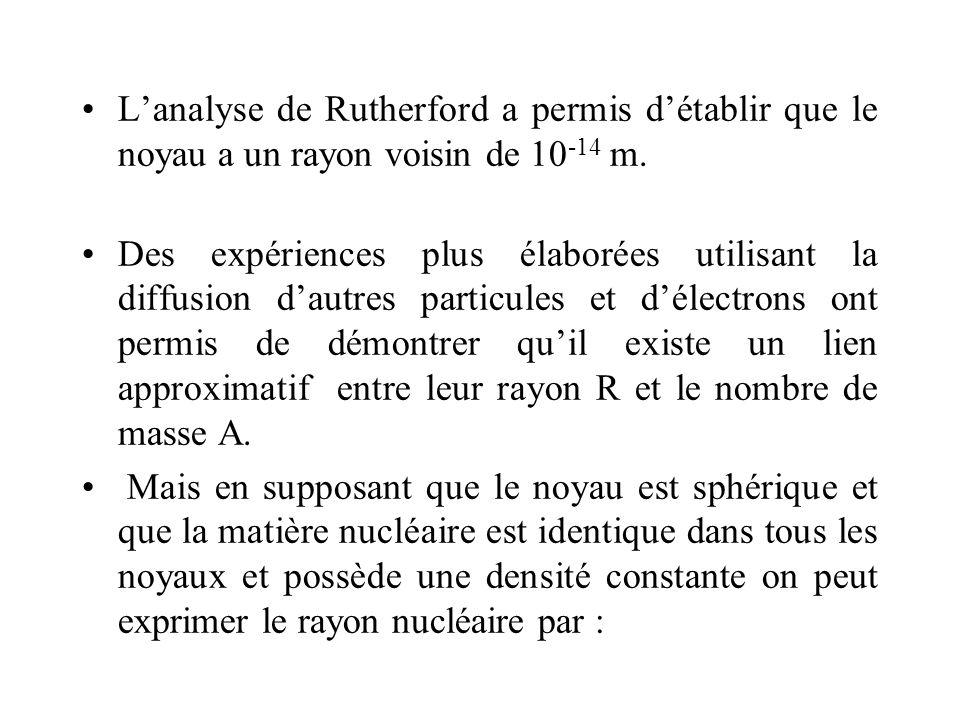 Lanalyse de Rutherford a permis détablir que le noyau a un rayon voisin de 10 -14 m. Des expériences plus élaborées utilisant la diffusion dautres par