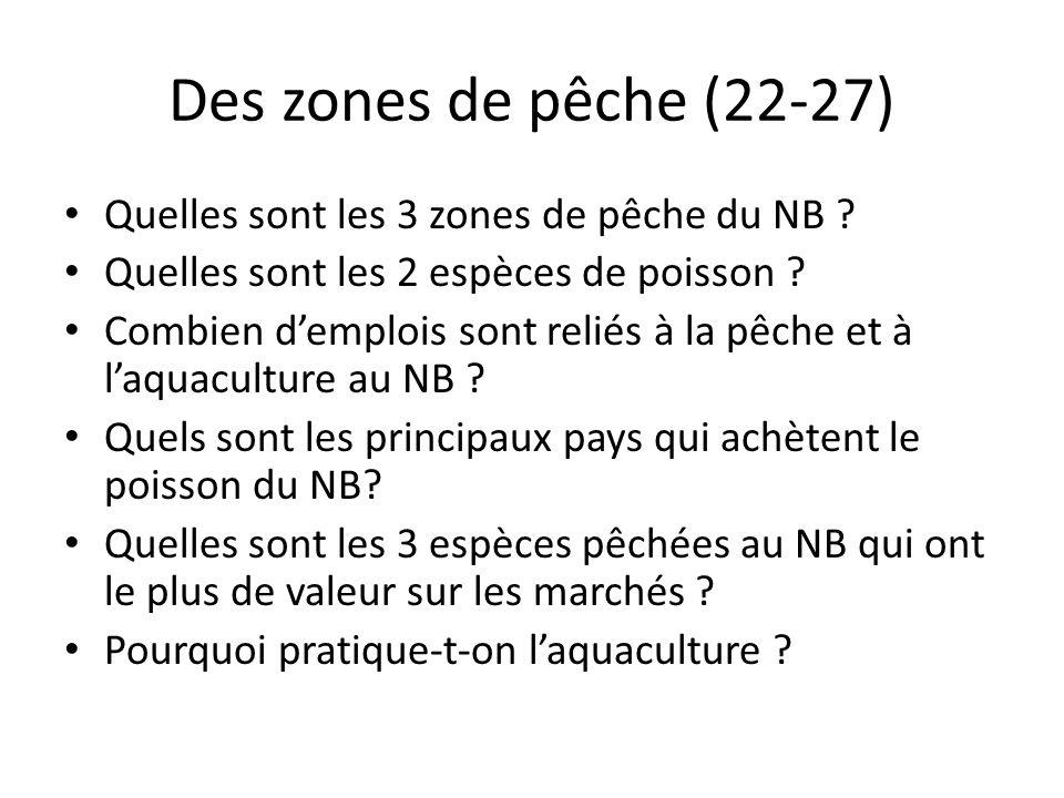 Des zones de pêche (22-27) Quelles sont les 3 zones de pêche du NB ? Quelles sont les 2 espèces de poisson ? Combien demplois sont reliés à la pêche e