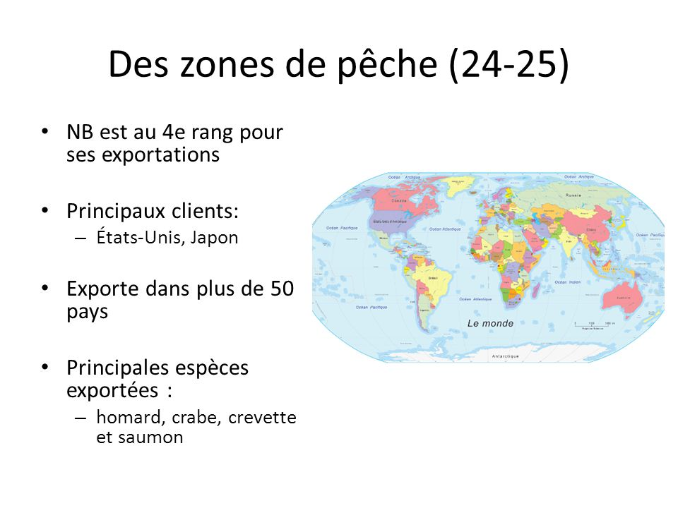 Des zones de pêche (24-25) NB est au 4e rang pour ses exportations Principaux clients: – États-Unis, Japon Exporte dans plus de 50 pays Principales es