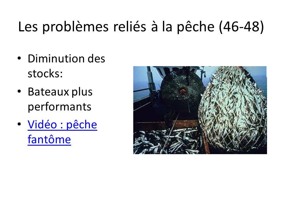 Les problèmes reliés à la pêche (46-48) Diminution des stocks: Bateaux plus performants Vidéo : pêche fantôme Vidéo : pêche fantôme