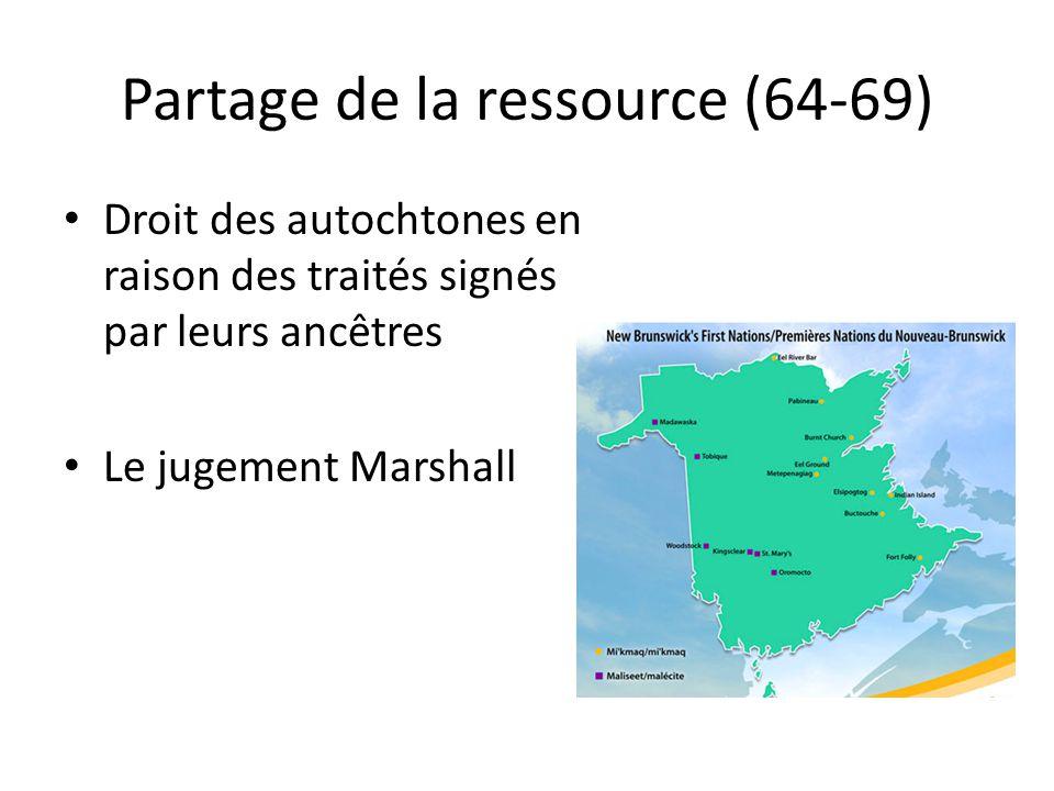 Partage de la ressource (64-69) Droit des autochtones en raison des traités signés par leurs ancêtres Le jugement Marshall