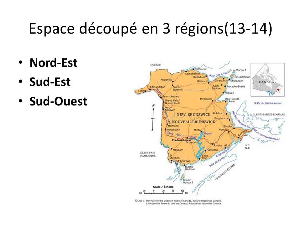 Espace découpé en 3 régions(13-14) Nord-Est Sud-Est Sud-Ouest
